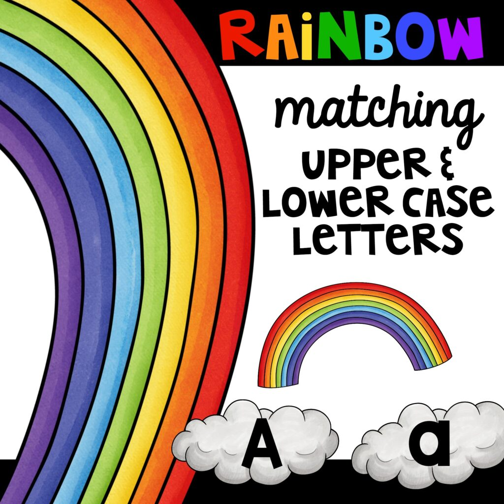 Rainbow matching activity using upper and lower case alphabet letters for fun with kids