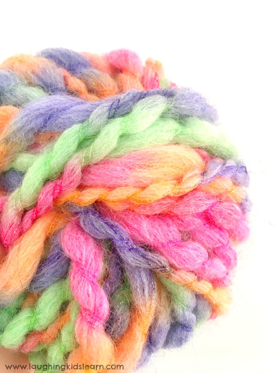 yarn for threading activity with kids.