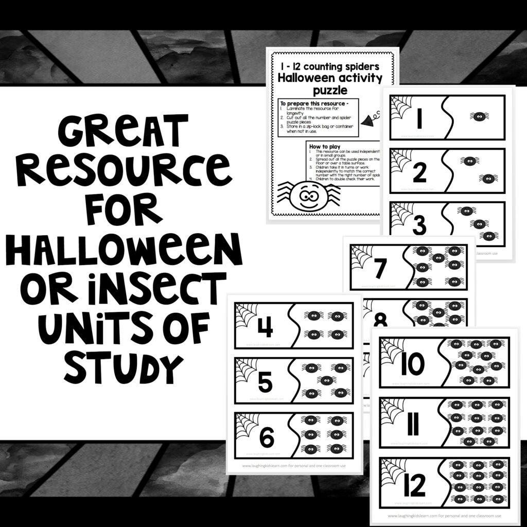 This Halloween counting activity using numbers 1 to 12 is great for helping your children consolidate basic numbers to ten and slightly beyond.  #halloween #halloweenmath #halloweencounting #countdracular #countingactivity #halloweenactivities #basicnumbers #numberstoten #onetoten #earlyyears #earlyyearsteachingideas #lovetolearn #learnwithplay #tpt #teacherspayteachers #funathome #homeschool