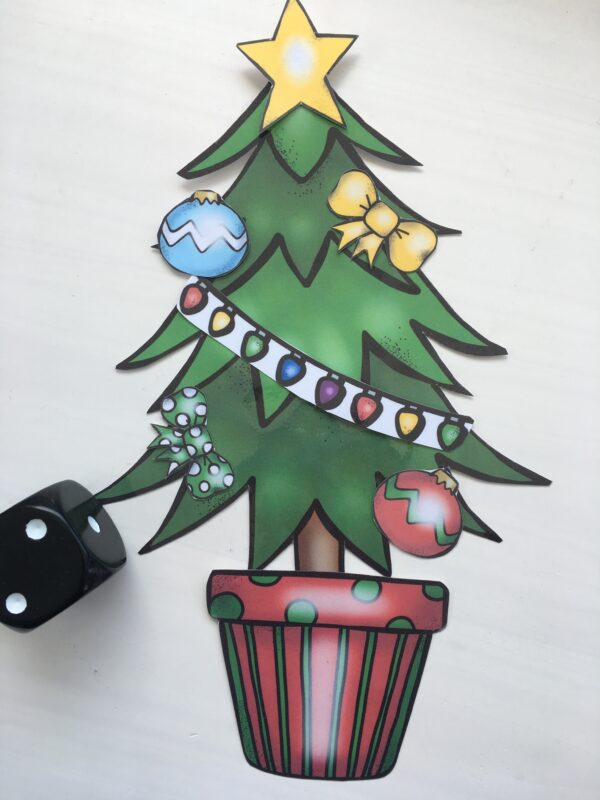 Christmas tree decoration kit so you can build your own with subitizing numbers
