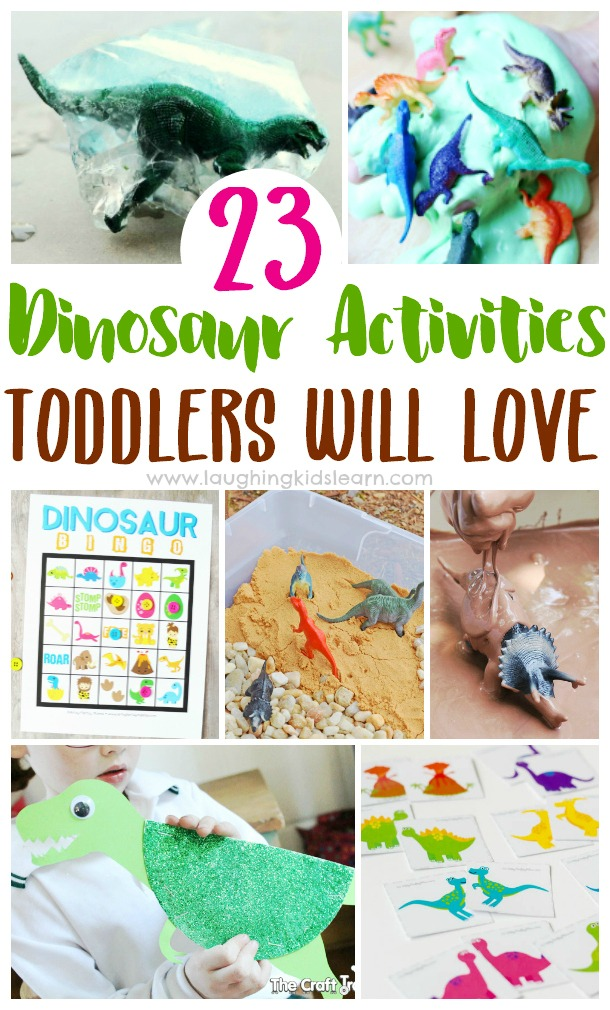 23 dinosaur ac tivities toddlers will love by laughing kids learn. Lots of fun for children of all ages too. Dinosaur slime and more #dinosaur #dinosaurs #dino #dinoactivities #dinosauractivities