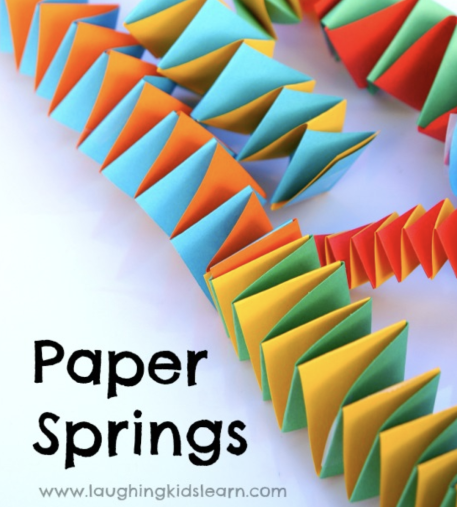Celebration new years paper springs. Great for toddlers and preschoolers to make.