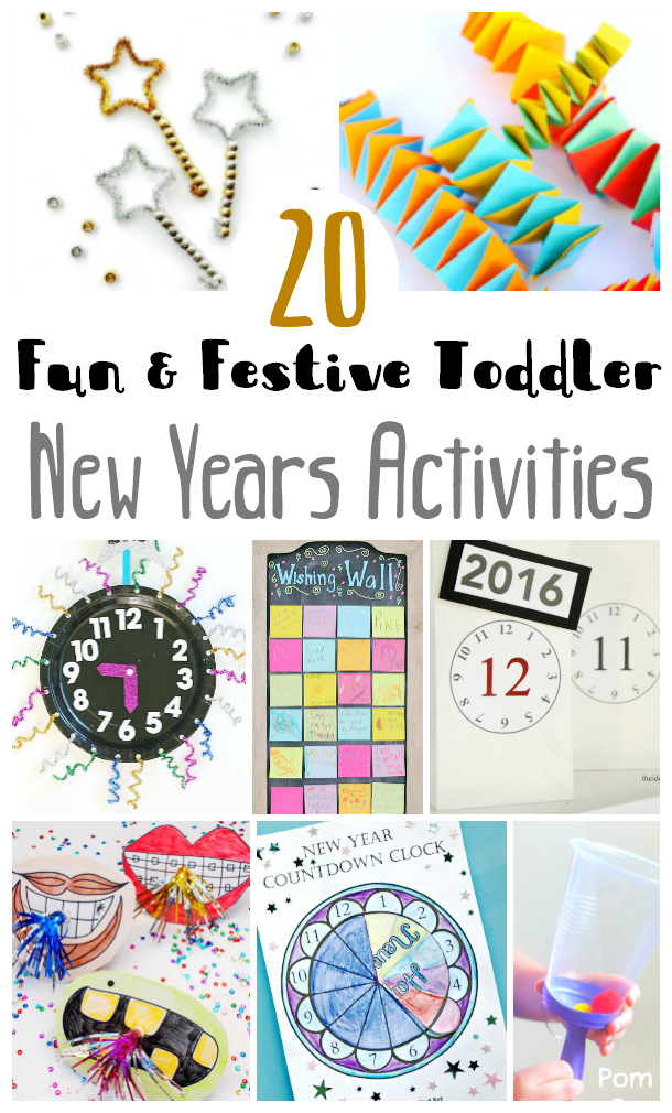 20 fun and festive new years activities for toddlers. Great for celebrating and including your children in new years celebrations.