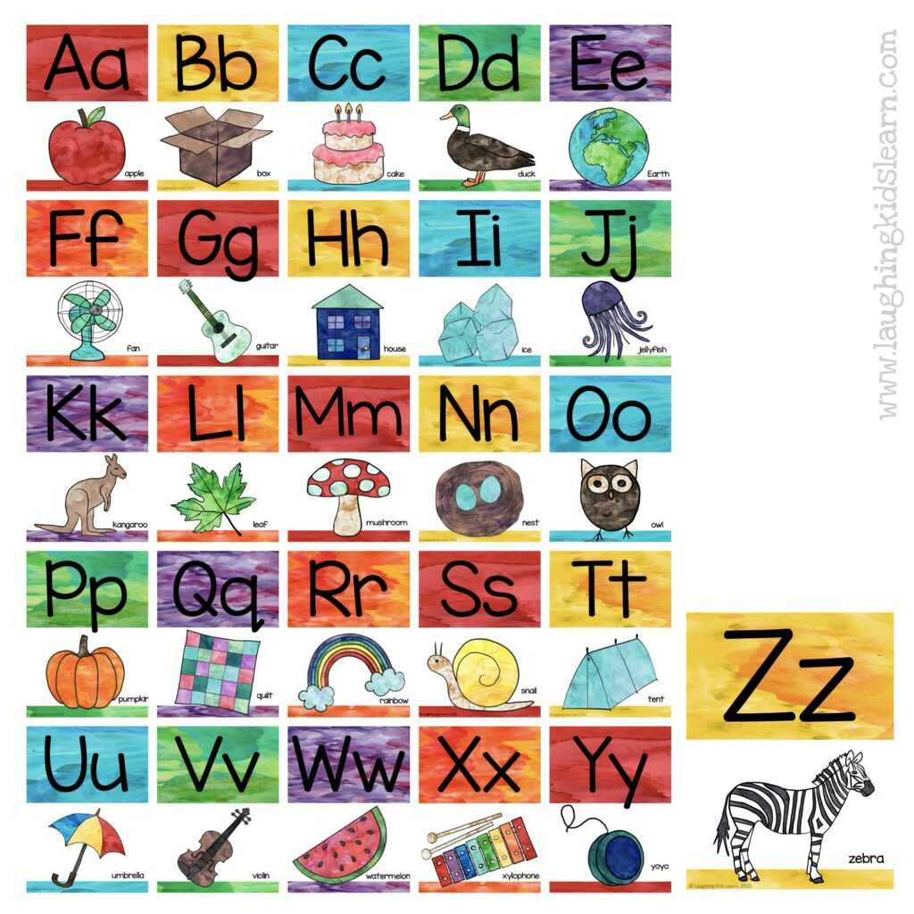 Collection of Watercolor ABC alphabet posters and alphabet cards for teachers to use in the classroom with their students. Can be used at home too.