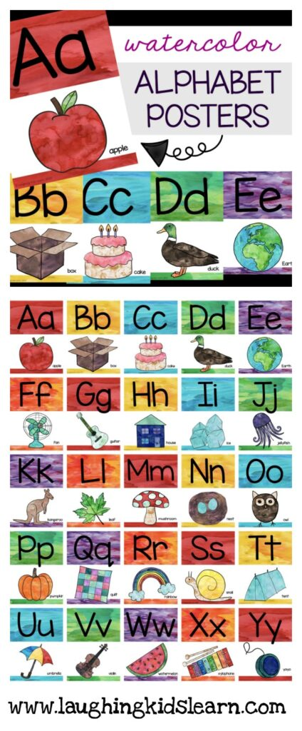 ABC alphabet posters and cards for classroom and home. Rainbow colors and painted in watercolor.