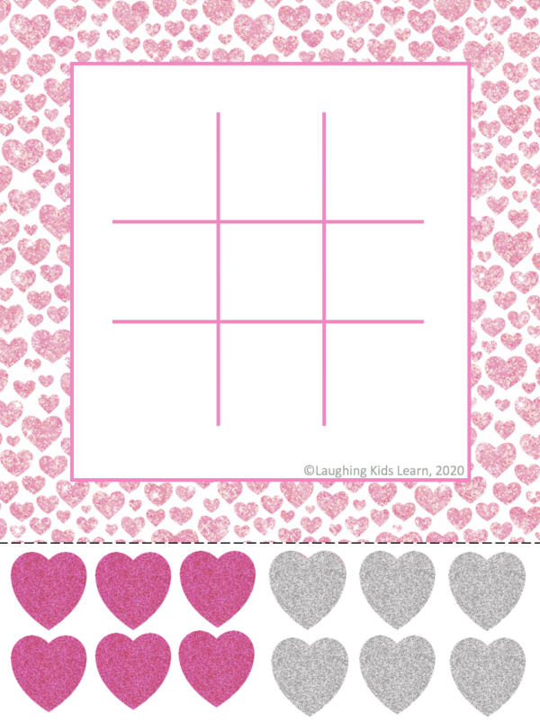 Free noughts and crosses Valentine's Day game or tic tact toe game for kids