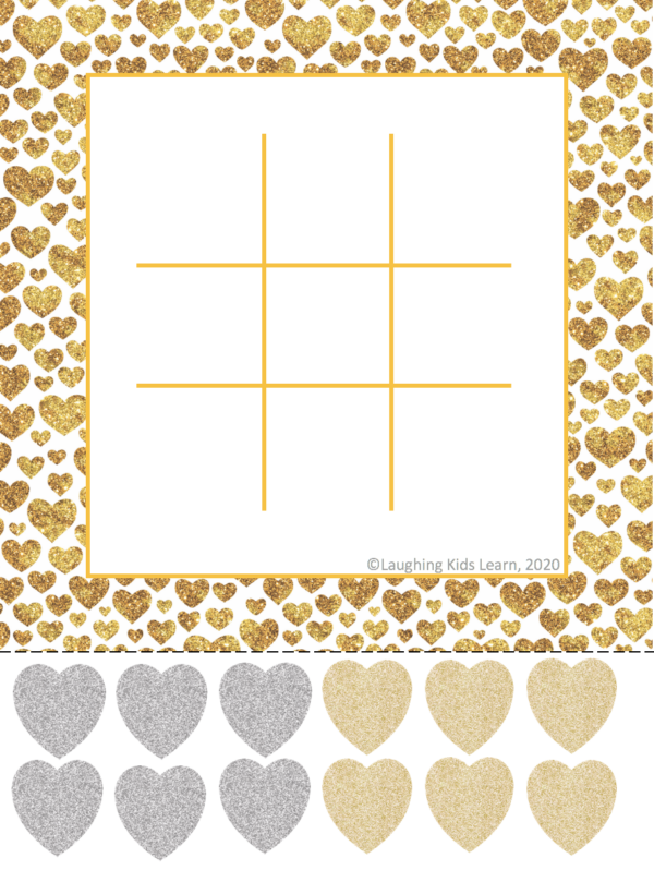 Free noughts and crosses Valentine's Day game or tic tact toe