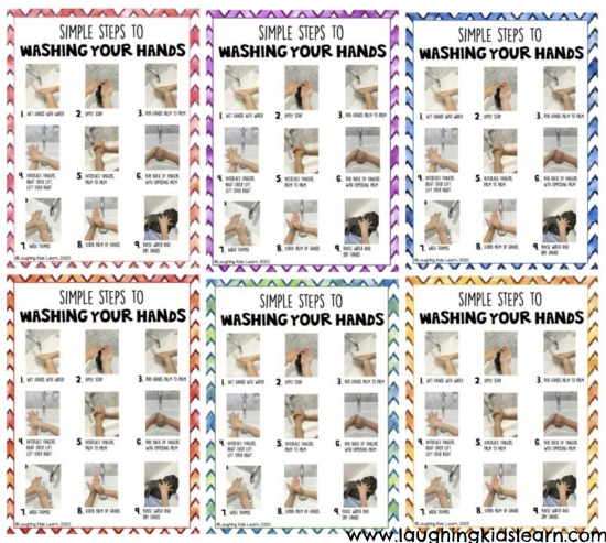 Variety of posters teaching children and adults how to wash their hands correctly. Simple steps with photographs and a description.  #washyourhands #howtowashyourhands #preschool #kindergarten #earlyyears #backtoschool #washinghands #who #washhands #socialskills #toilettraining #pottytraining #cleanhands #germs #killgerms