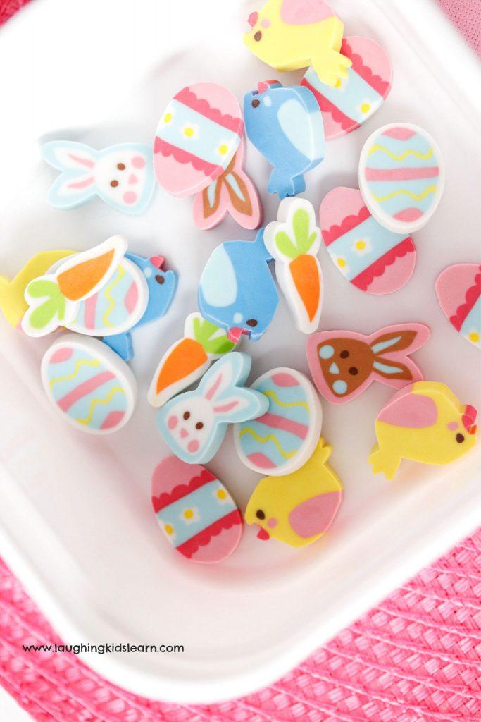 Easter sensory bottles for children with erasers