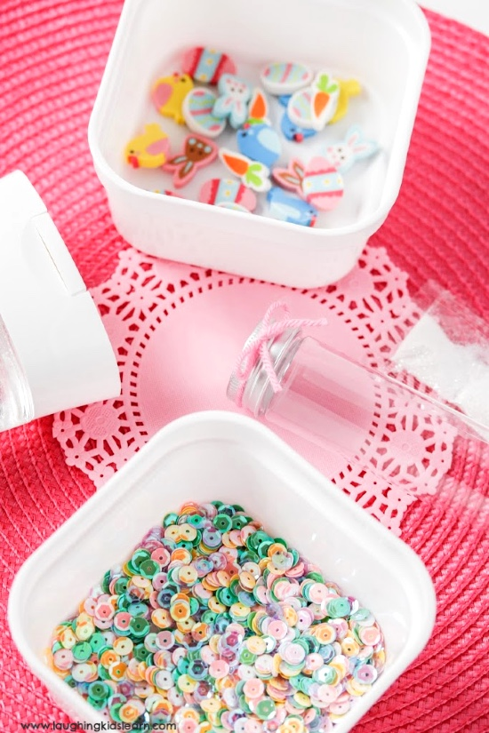 When making an easter sensory bottles, you'll need bottle erasers, gell and more. #easter #sensorybottles