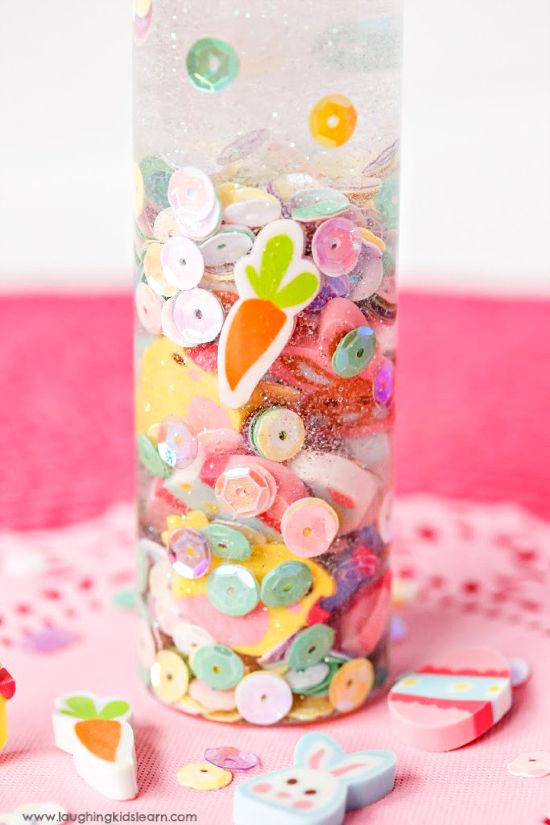 inside a calming sensory bottle for children to use over easter #sensorybottles #calmingsensorybottles #sensorybottle #eastertheme