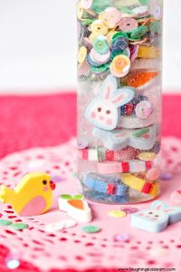 calming sensory bottles for children to use this easter as alternative to chocolate.