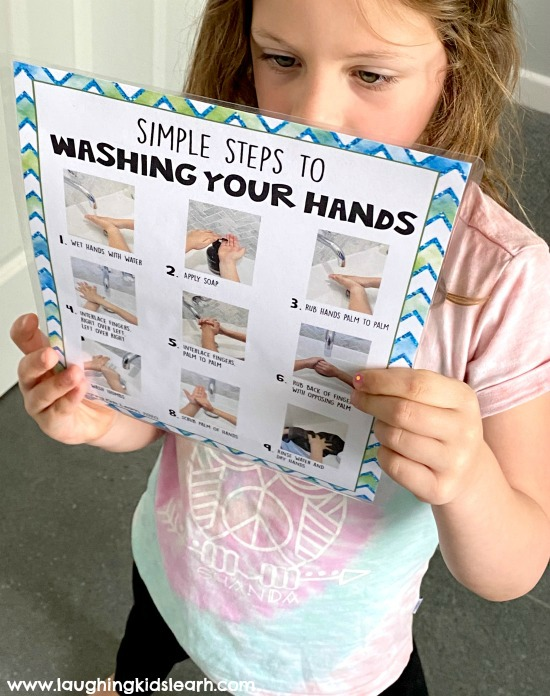 Child or Kid looking at poster on how to wash hands correctly. #washyourhands #howtowashyourhands #preschool #kindergarten #earlyyears #backtoschool #washinghands #who #washhands #socialskills #toilettraining #pottytraining #cleanhands #germs #killgerms