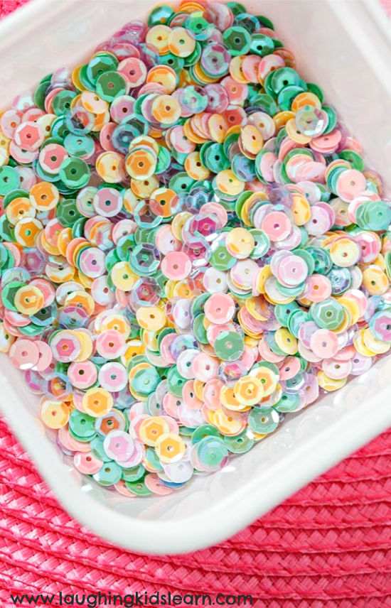 sequins for easter themed sensory bottles children to make and play with. #easter #sequins
