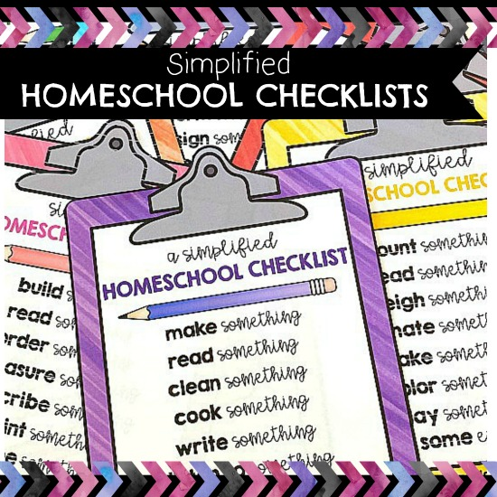 simplified homeschool checklists for parents to use with their children at home. #homeschooling #checklistsforkids #homeschool #distanceeducation #distance learning #lovetolearn #learntathome #learnwithplay