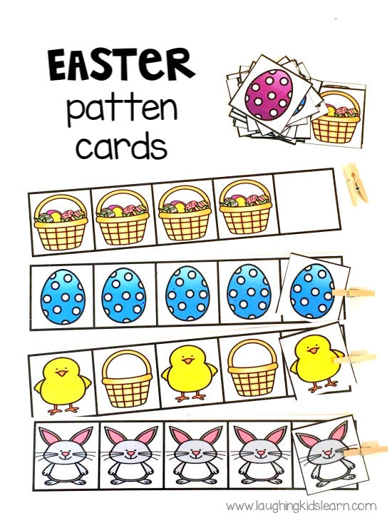 Easter pattern cards for kids. great gift idea and gift alternative to giving chocolate. #eastergift #easter #eastergiftidea #easteractivities #easteractivity #eastergames #easterpuzzles #funforkids #eastercrafts #preschooleaster #patterncards #eastereggs #easterbunny #kbn #easterchocolatealternative
