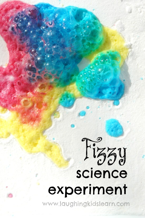 Fizzy science experiment for children to do at home or in the classroom. Bubbly home science fun.