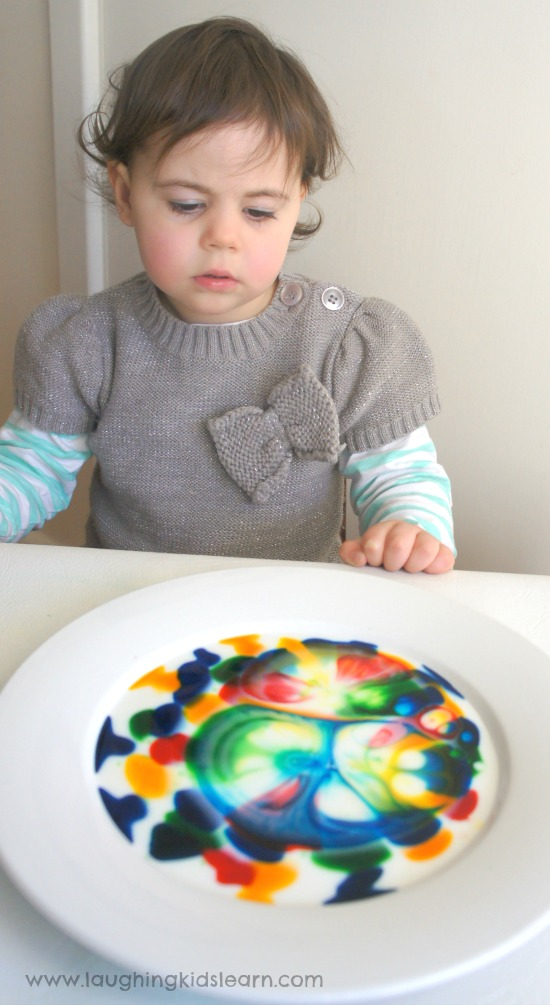 Simple science activity toddlers and beyond would love using milk and washing up detergent