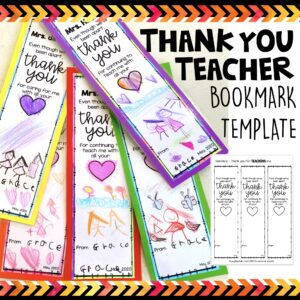 Thank you teacher bookmark template cover