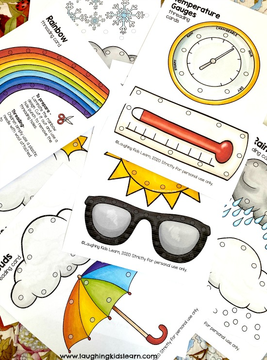 Variety of Weather lacing cards for parents and teachers to use with their children. Great to use with your weather unit or social studies or part of your literacy centre. #weather #weatherunit #socialstudies #seasons #threadingcards #finemotorskills #finemotor #threading #weaving #seasons #integratedstudies #spring #autumn #winter #summer #lacingcards