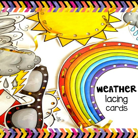 weather unit children enjoy weather lacing cards for fun and fine motor development. #weatherunit #weather #seasons #lacingcards #weatherlacingcards #finemotor #finemotordevelopment #finemotorskills #literacycentre #socialstudies #integratedstudies #kbn #lacing #threadingcards #summer #winter #spring #fall #seasonsactivities #weatheractivities