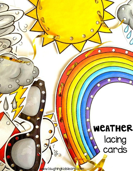 Teaching weather unit children enjoy weather lacing cards for fun and fine motor development. #weatherunit #weather #seasons #lacingcards #weatherlacingcards #finemotor #finemotordevelopment #finemotorskills #literacycentre #socialstudies #integratedstudies #kbn #lacing #threadingcards #summer #winter #spring #fall #seasonsactivities #weatheractivities