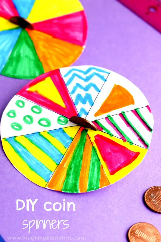DIY coin or penny paper plate spinners are fun to make and play with your children. Great activity to watch and ideal for teaching children about mixing colours together. Pattern making. #pennyspinners #diytoys #coins #patternactivity #mixingcolors #mixingcolours #makingpatterns #diy #papertoys #papercraft #funforkids #preschooltoys #spinningtop #spinningtoys #paperplatecraft #paperplateactivity #paperplates #paperplate #spinningplates