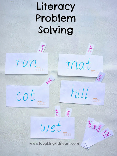 simple problem solving literacy word activities for kids using envelopes