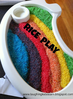 Fun ways to play with coloured rice