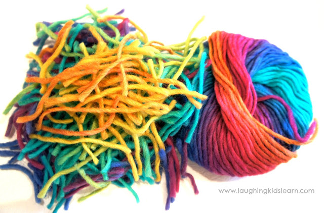 Fun activity for kids using wool on contact paper
