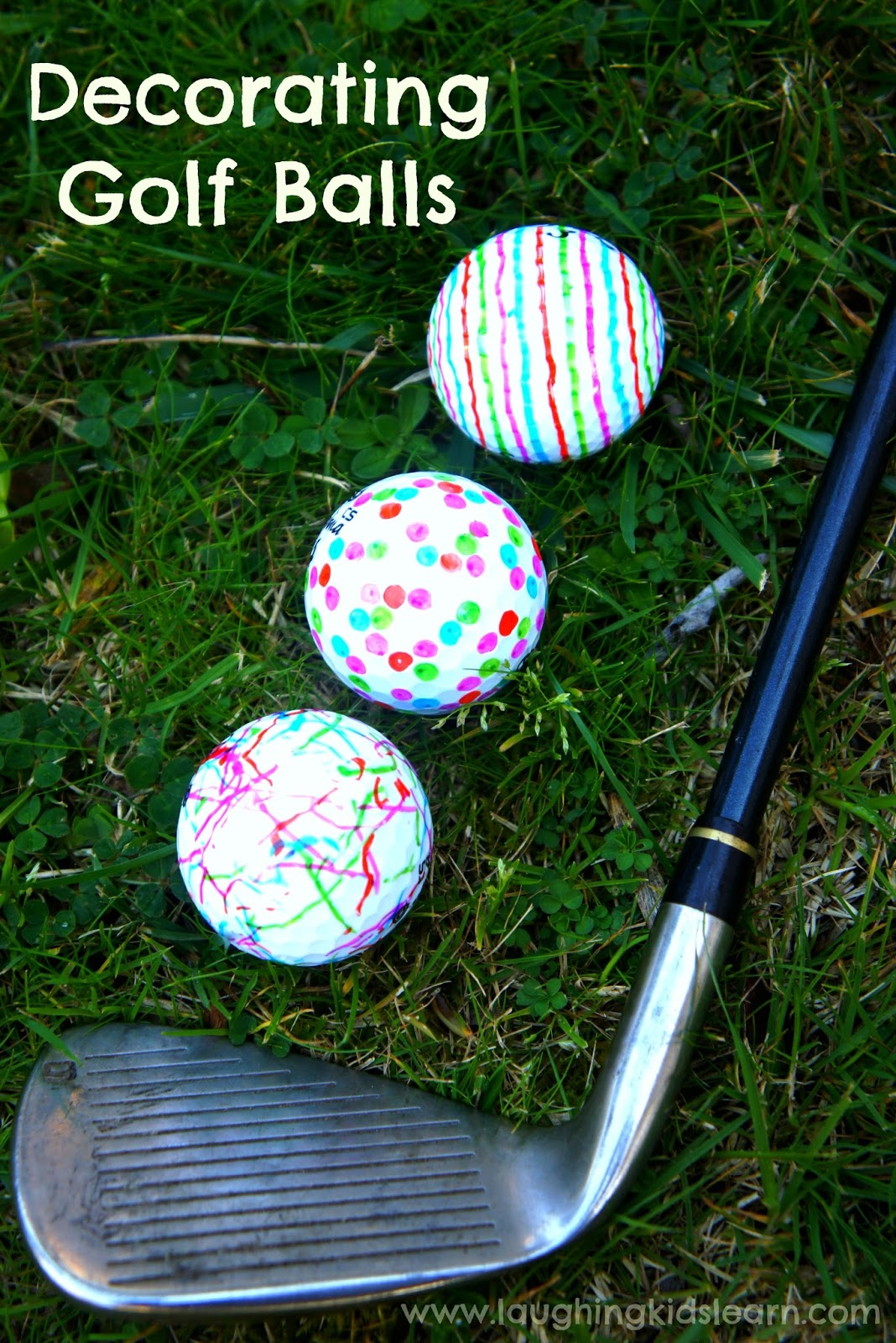 Decorating golf balls for father\'s day gift - Laughing Kids Learn