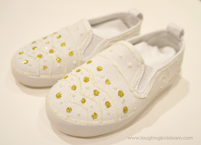 Glow in the dark shoes is a fun and creative activity for children