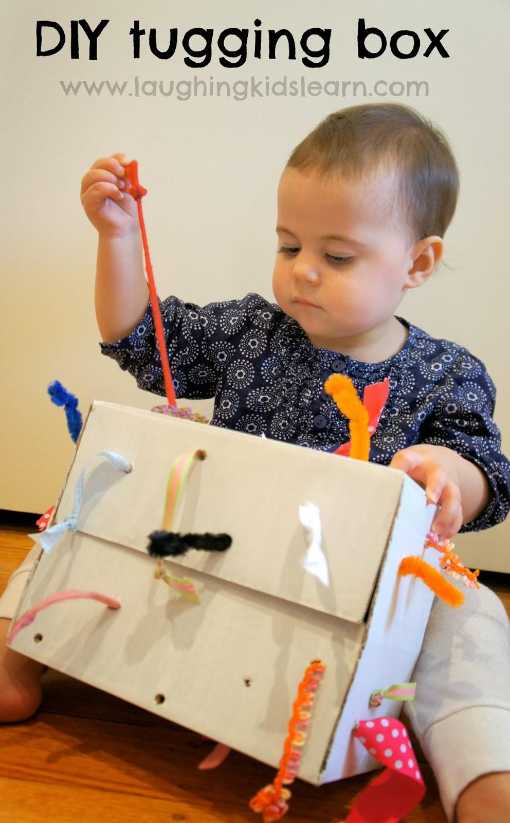 Diy Tugging Box For Fine Motor Development Laughing Kids Learn