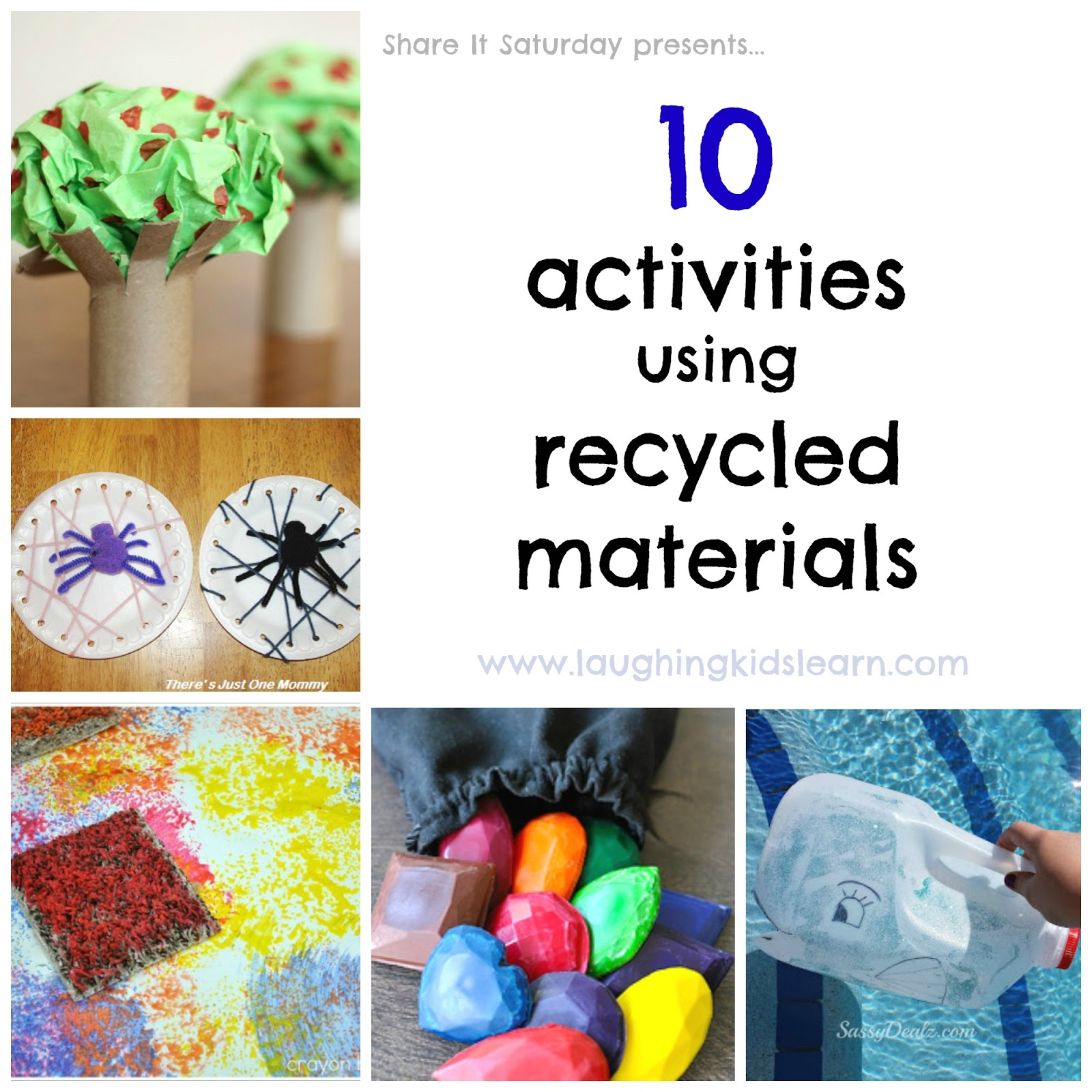 Share it saturday 10 activities using recycled materials for Use of waste material for kids