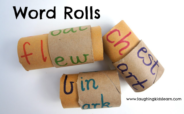 Roll and read sight words is a clever way to recycle toilet paper rolls and wrapping paper rolls.