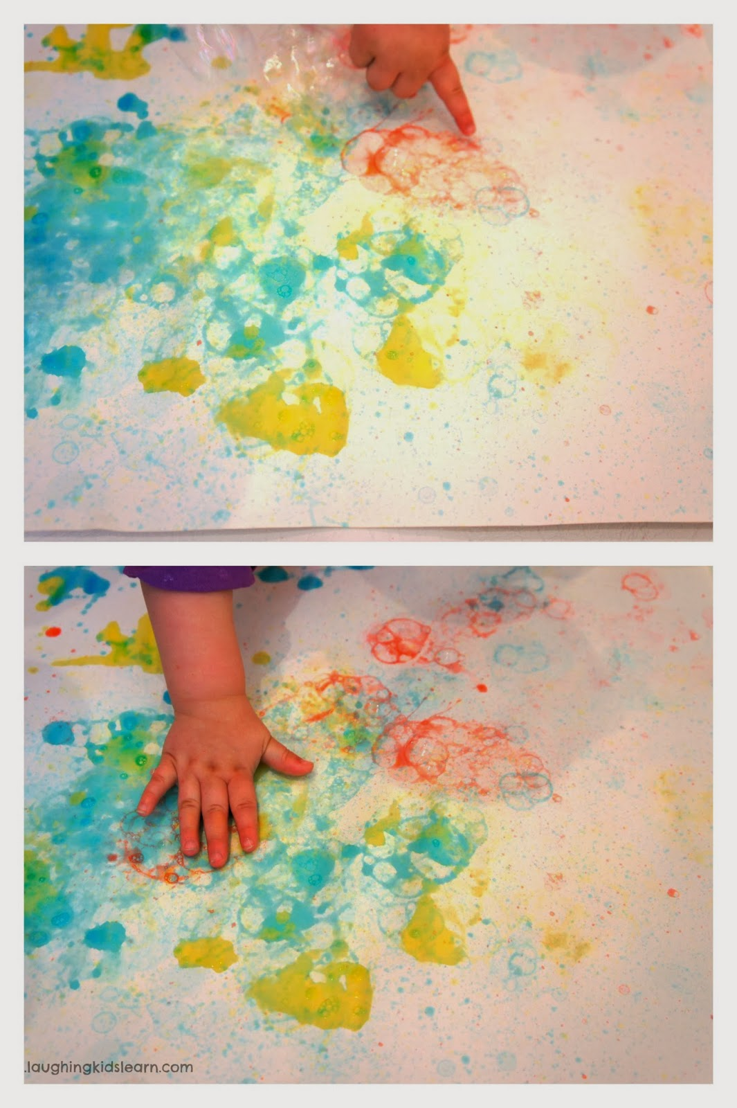 bubble painting with a diy wand laughing kids learn