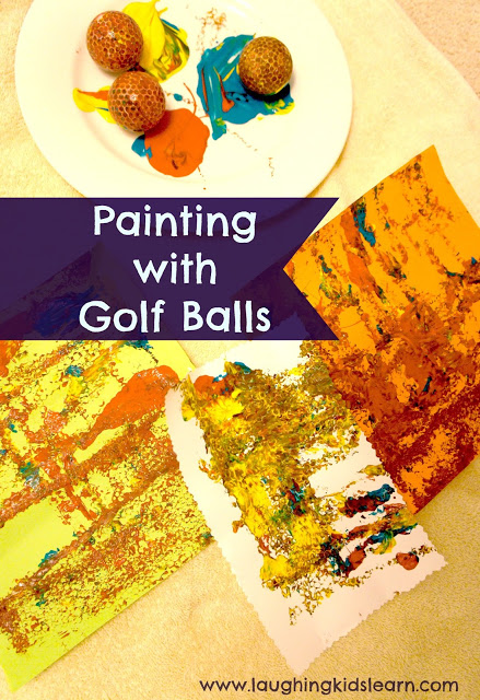 Painting with golf balls is fun for children toddlers