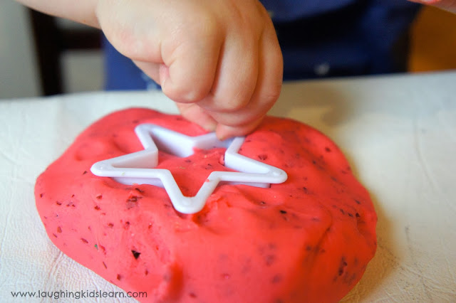 Christmas playdough and cookie cutters by Laughing Kids Learn