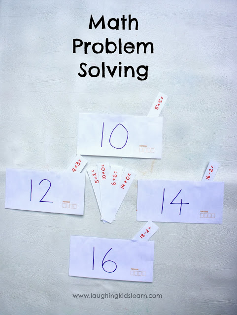 simple problem solving math activities for kids using envelopes