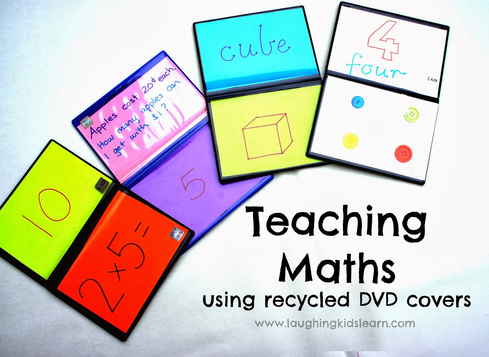 Teaching Maths using Recycled DVD Covers - Laughing Kids Learn