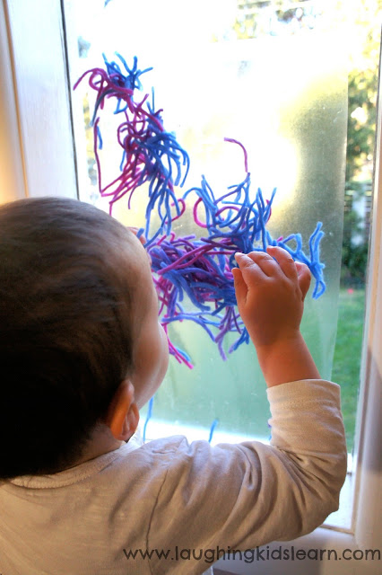 Fun activity for toddlers and babies using contact paper